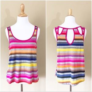 Chloe K | Rainbow striped cropped tank top